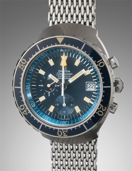 A fine, rare, and oversized stainless steel diver's chronograph wristwatch with date, 24-hour indicator, and unidirectional rotating bezel