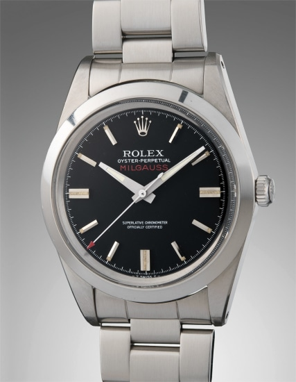 A well-preserved and rare stainless steel anti-magnetic wristwatch with center seconds, black dial, caseback sticker, bracelet, additional silver dial, original punched guarantee, and original presentation box