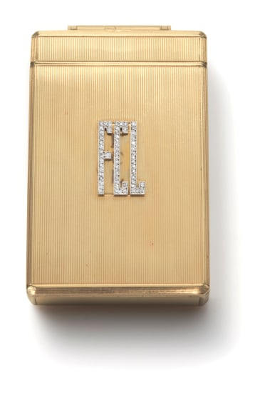 A Gold and Diamond Minaudiere Compact with Concealed Watch
