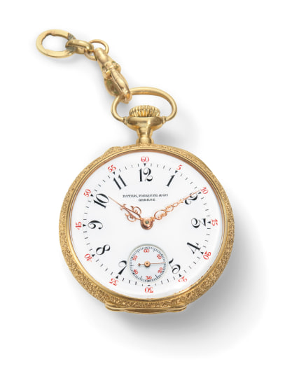 An Antique Gold, Enamel, and Diamond Openface Keyless Cylinder Pendant Watch