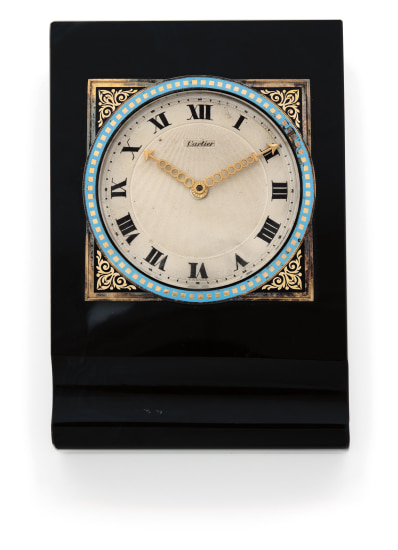 An Art Deco Agate and Enamel Desk Clock