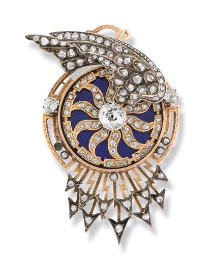 A Victorian Diamond and Enamel Automaton Brooch