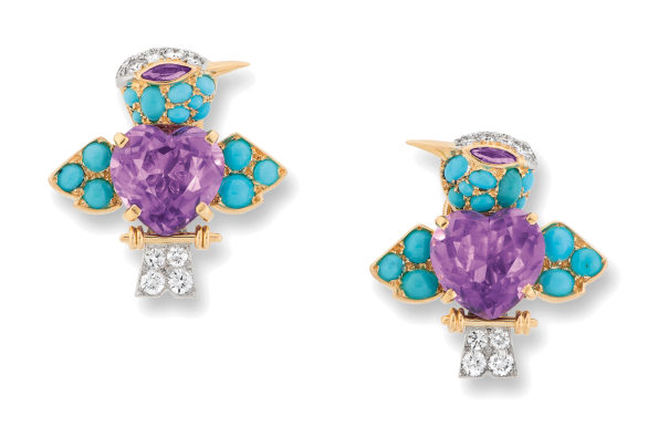A Pair of Amethyst, Turquoise and Diamond Earrings