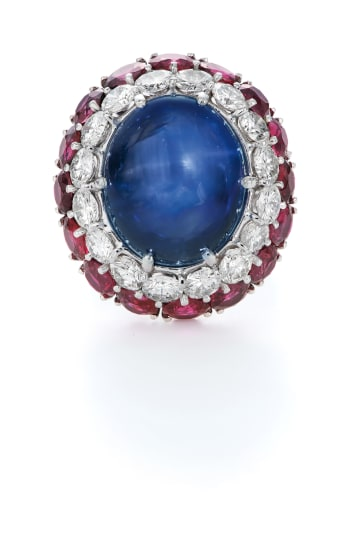 A Sapphire, Diamond and Ruby Ring