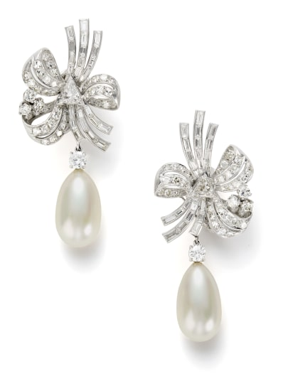 A Pair of Diamond and Pearl Simulant Earrings
