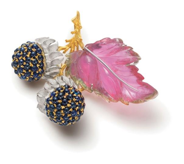 A Tourmaline, Sapphire and Gold Brooch