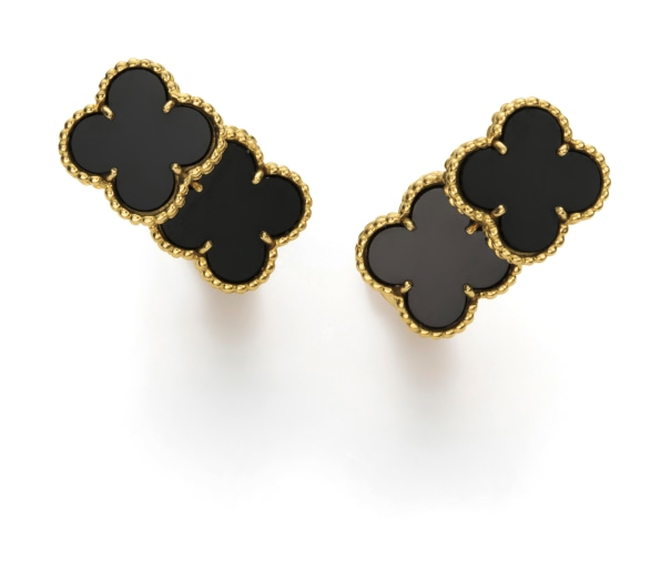 A Pair of Gold and Onyx 'Vintage Alhambra' Earrings