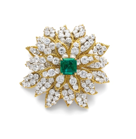 A Colombian Emerald and Diamond Brooch