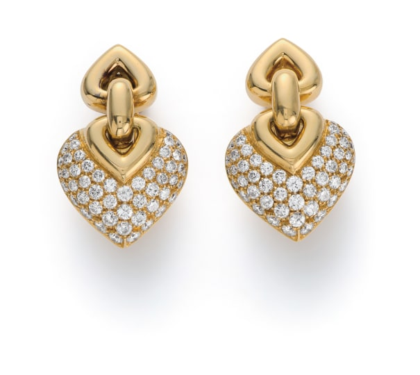 A Pair of Gold and Diamond 'Doppio Cuore' Earrings