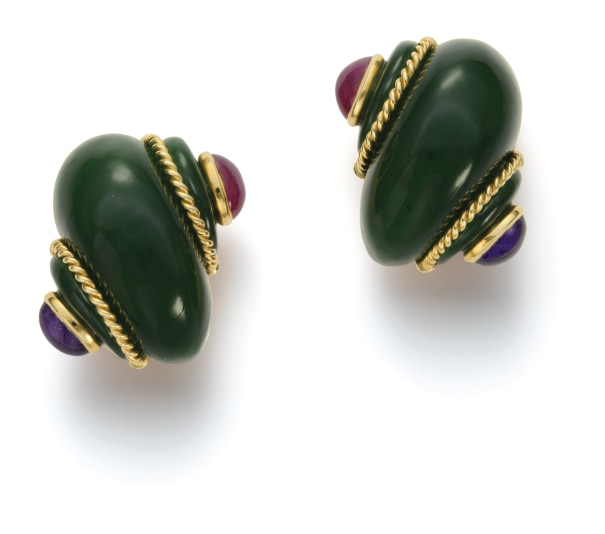 A Pair of Nephrite, Ruby and Amethyst Earrings