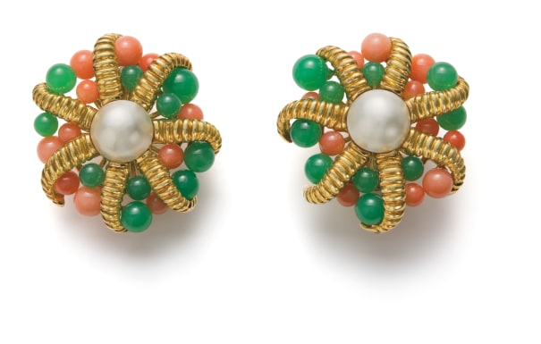 A Pair of Cultured Pearl, Coral and Chrysoprase Earrings
