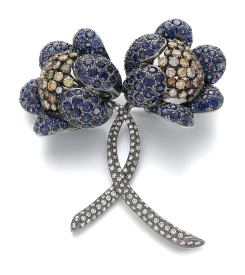 A Sapphire, Diamond and Fancy Diamond Brooch