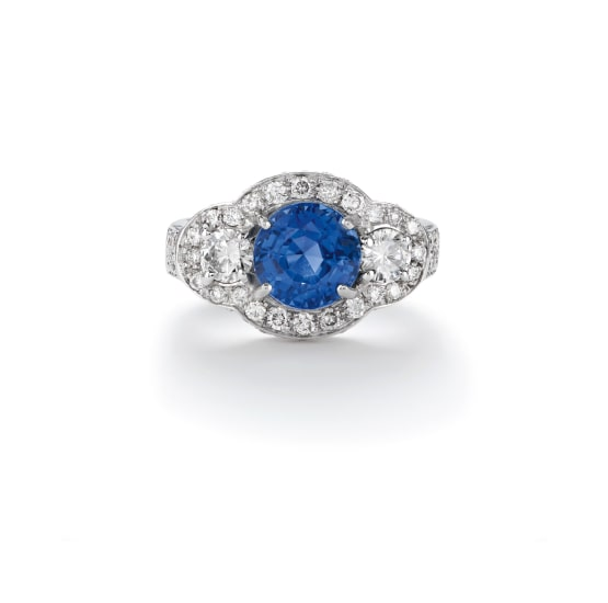 A Burmese Sapphire and Diamond Ring