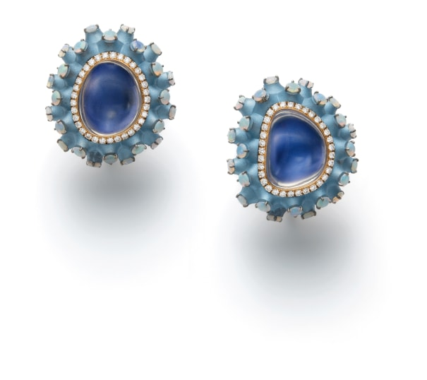 A Pair of Opal and Diamond Earrings