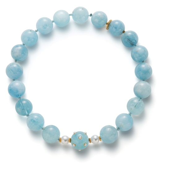 An Aquamarine, Cultured Pearl and Gold Bead Necklace