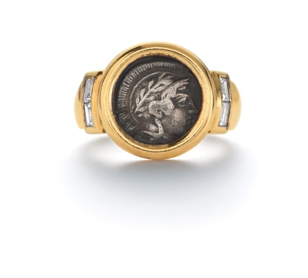 A Gold, Coin and Diamond Ring