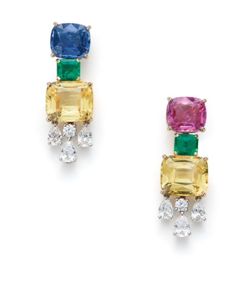 A Pair of Fancy Ceylon Sapphire, Emerald and Diamond Earrings