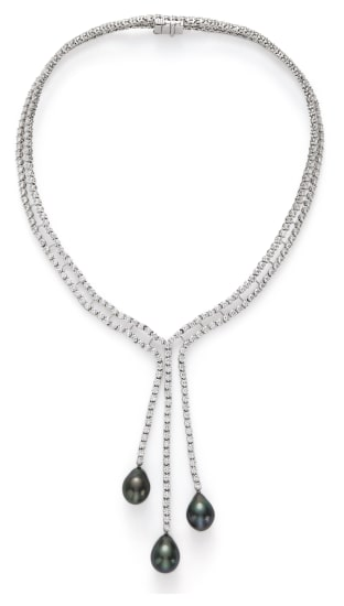 A Diamond and Cultured Tahitian Pearl Necklace