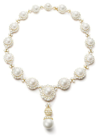 An Important Diamond and South Sea Cultured Pearl Necklace