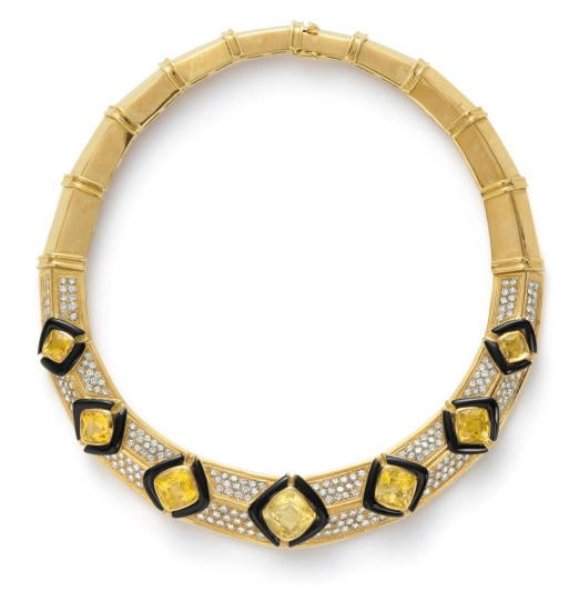 A Citrine, Diamond, Onyx and Gold Necklace