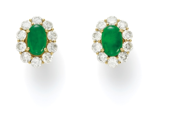 A Pair of Jade and Colored Diamond Earrings