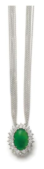 A Jadeite and Diamond Pendant Necklace