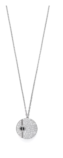 A Diamond and Onyx 'Love' Pendant Necklace