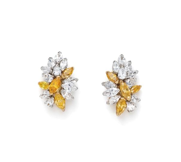 A Pair of Fancy Diamond and Diamond Earrings