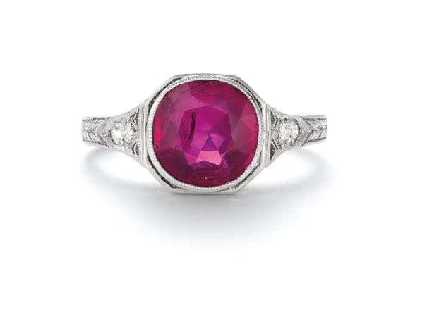 An Belle Époque Burmese Ruby and Diamond Ring