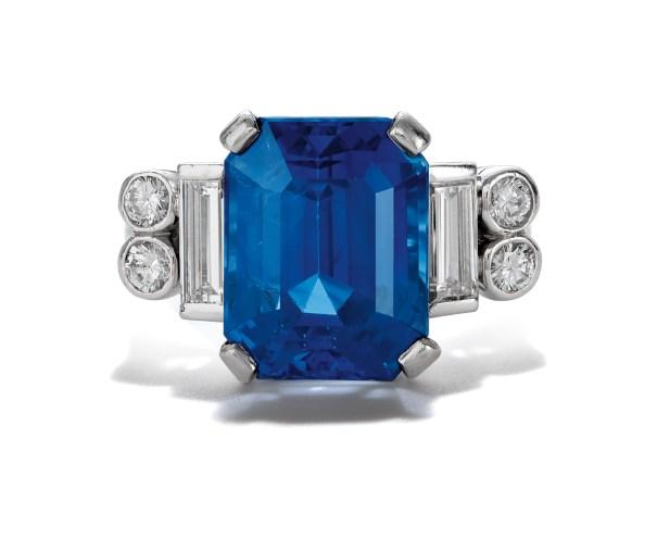 A Ceylon Sapphire and Diamond Ring