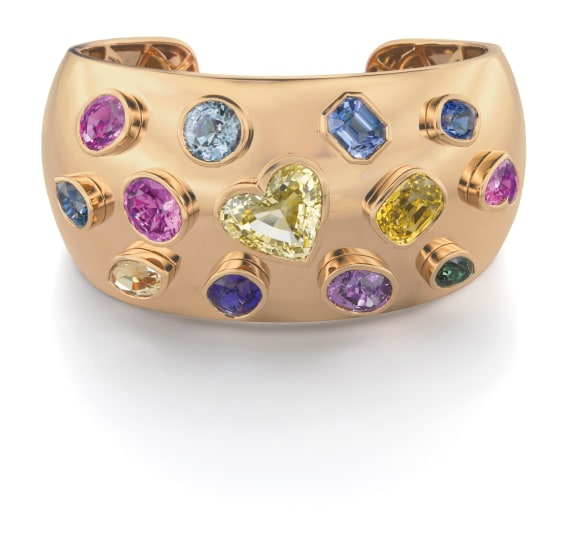 A Fancy Colored Sapphire Cuff Bracelet