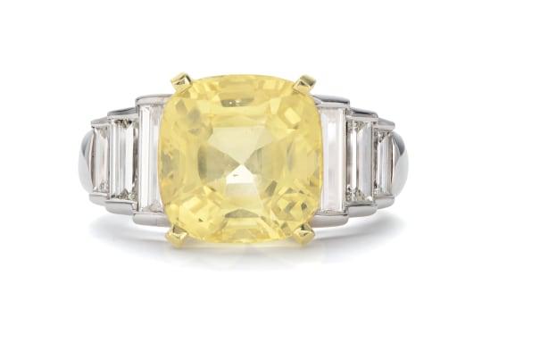 A Fancy Ceylon Sapphire and Diamond Ring
