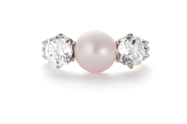 A Natural Freshwater Pearl and Diamond Ring