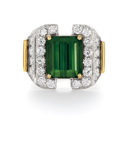 A Tourmaline, Diamond and Gold Ring