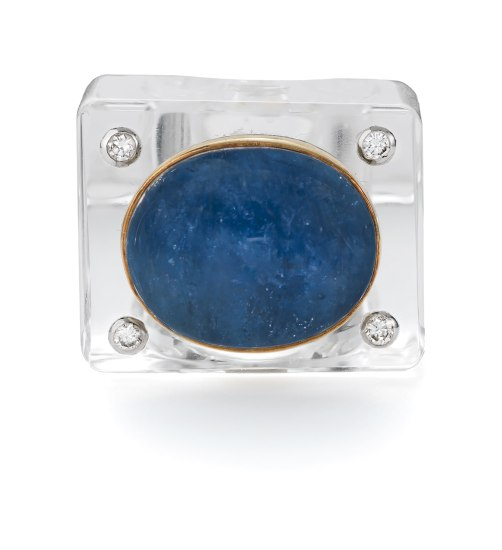 A Rock Crystal, Sapphire and Diamond Ring