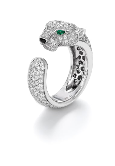 A Diamond, Emerald and Onyx 'Panthere De Cartier' Ring