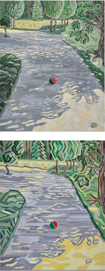 Two works: (i) A shadowy alley in the park 1; (ii) A shadowy alley in the park 2