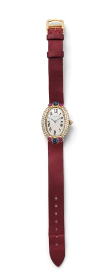 A Gold, Diamond, Sapphire and Ruby 'Baignoire Joaillerie Tutti Frutti' Watch