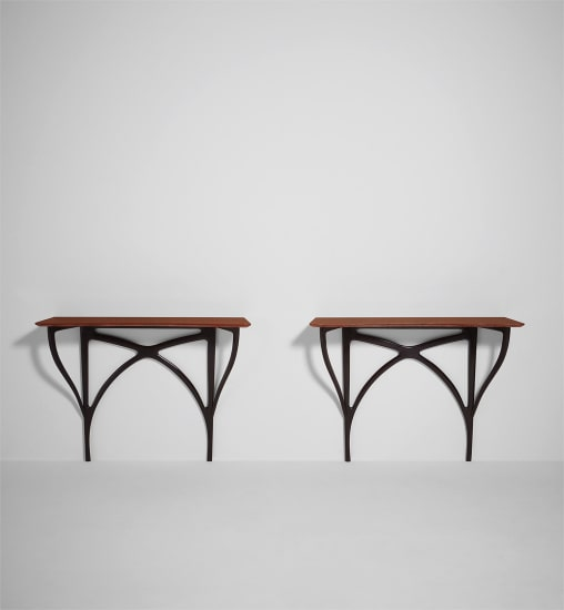 Pair of wall-mounted console tables