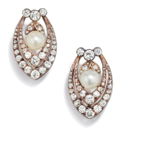 A Pair of Antique Cultured Pearl and Diamond Earrings