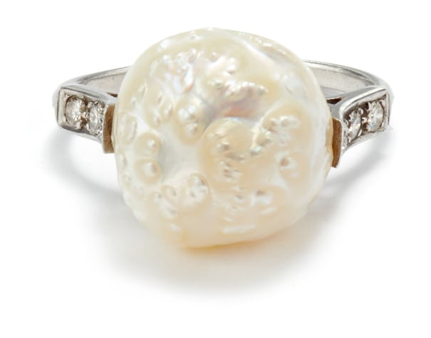 A Belle Époque Cultured Pearl and Diamond Ring