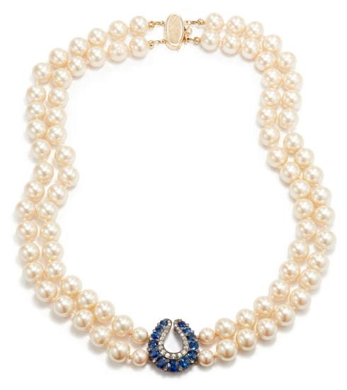 A Costume Pearl, Sapphire, and Diamond Necklace