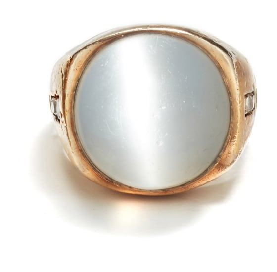A Cat's Eye Moonstone and Diamond Ring