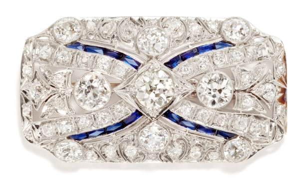 A Diamond and Synthetic Sapphire Brooch