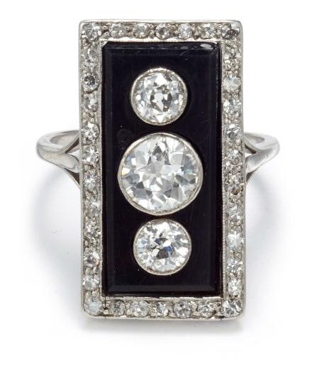 An Art Deco Diamond and Onyx Ring