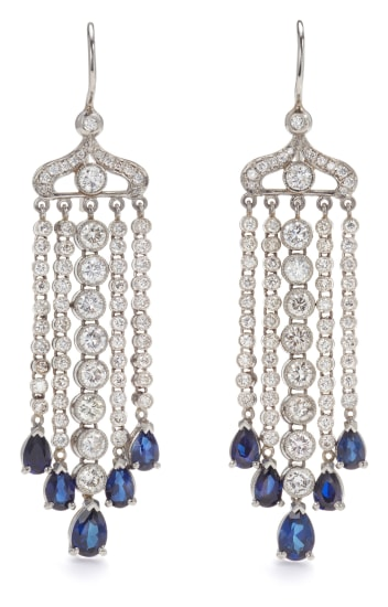 A Pair of Diamond and Sapphire Earrings