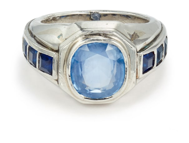 A Sapphire and Platinum Ring
