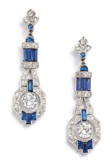 A Pair of Art Deco Sapphire and Diamond Earrings