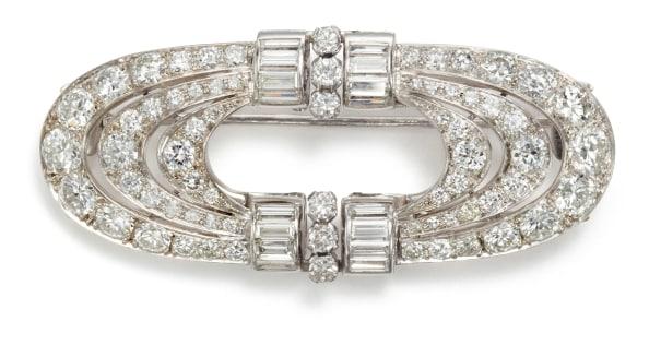 An Art Deco Diamond Double Clip Brooch