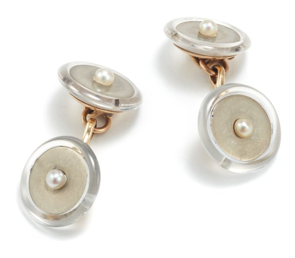 A Pair of Gold, Rock Crystal, and Cultured Pearl Cufflinks